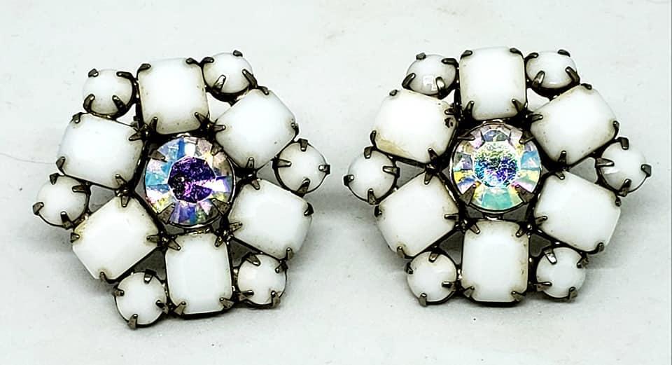 WEISS Milk Glass AB Rhinestone Necklace Bracelet Clip Earrings Parure