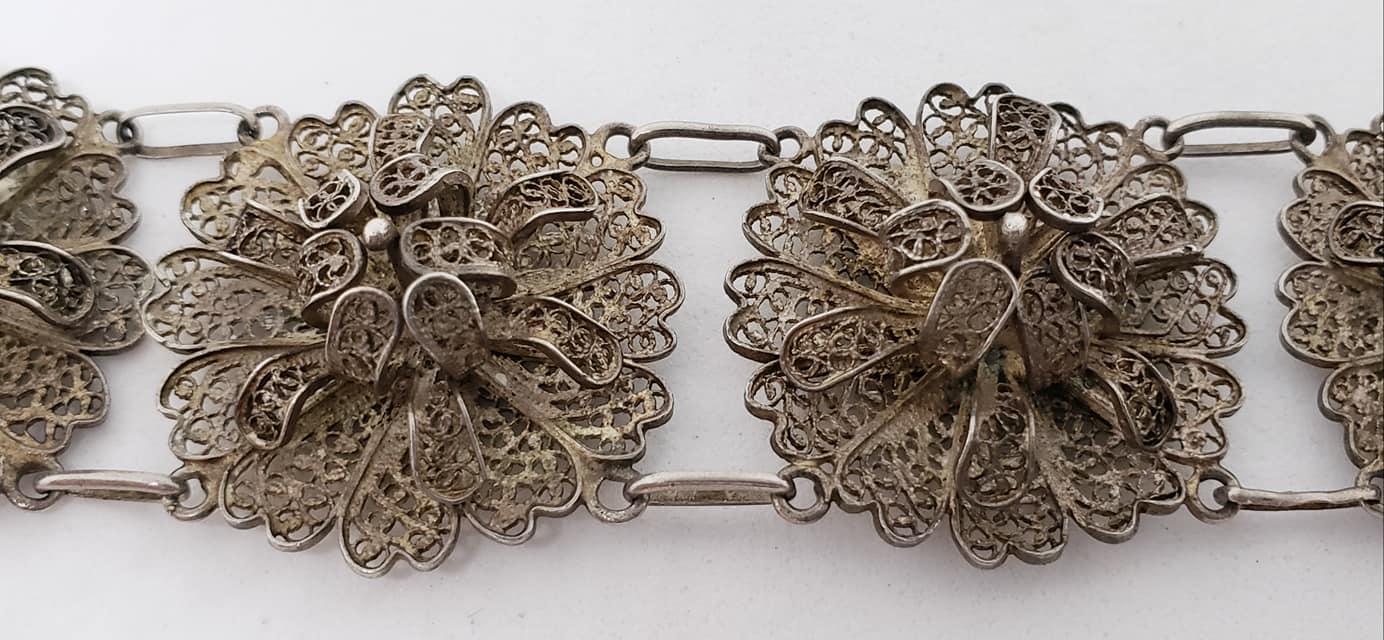 Antique silver filigree bracelet with floral Japanese porcelain centre