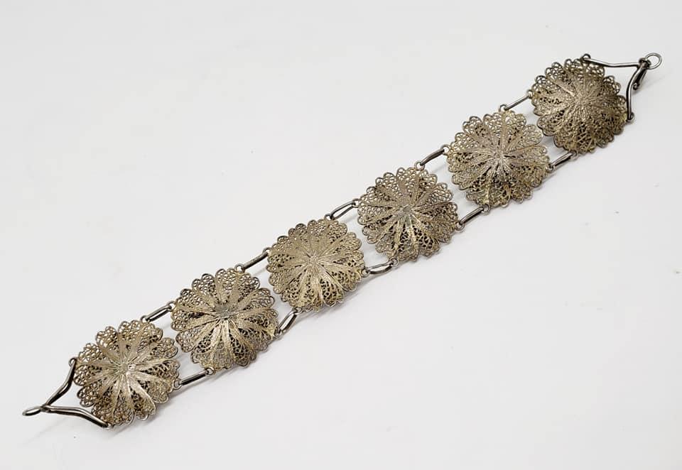 Antique Silver Filigree Flower Bracelet