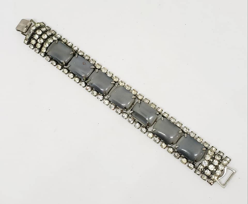 Gray Glass & Clear Rhinestone Bracelet