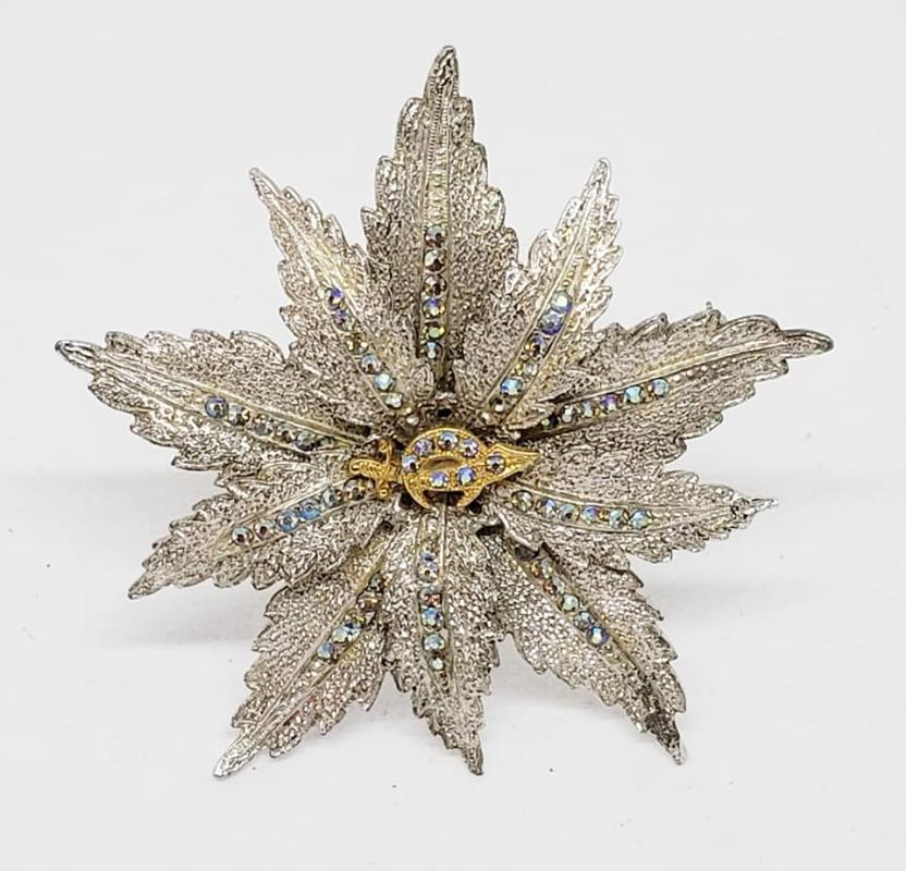 ORA Shriners Rhodium Plated AB Rhinestone Ponsettia Brooch Pin