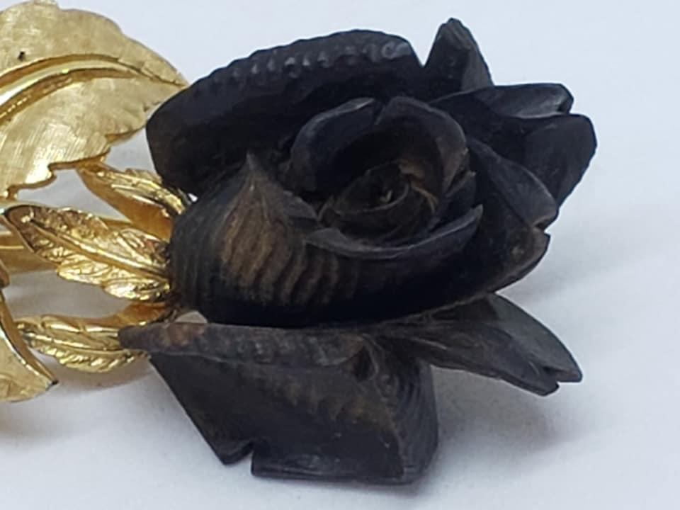 Gold Boucher Black Ebony Wood Rose Brooch Pin