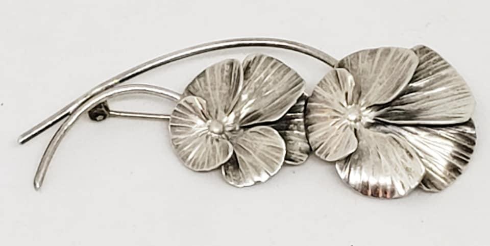 Stuart Nye Sterling Silver Double Pansy Brooch