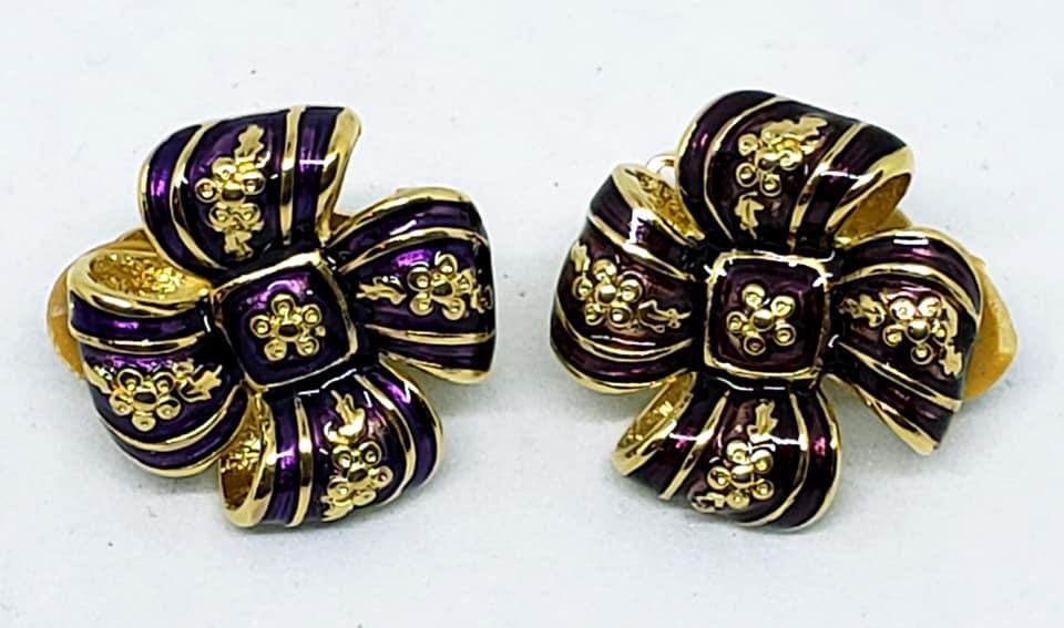 Joan Rivers Burgundy Enamel Bow Brooch & Clip Earrings