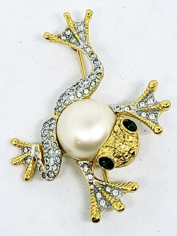 KJL Kenneth J. Lane Pearl Rhinestone Leaping Frog Pin