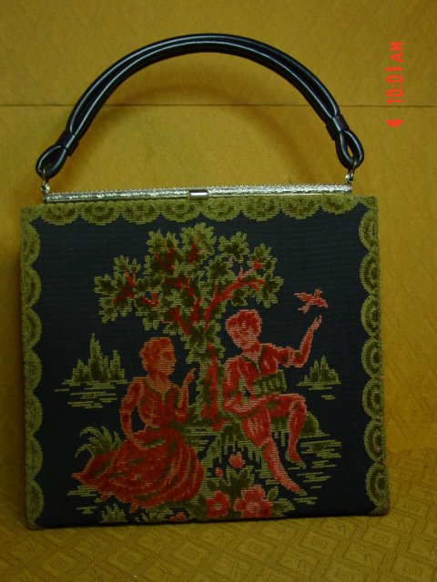 Vintage Raised Velvet Figural Tapestry Purse by Alma-Ide