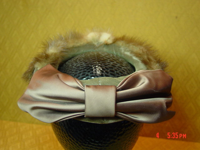 Vintage Mink Pillbox Hat