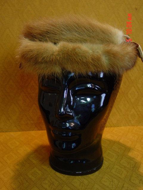 Vintage Light Brown Mink Pillbox Hat