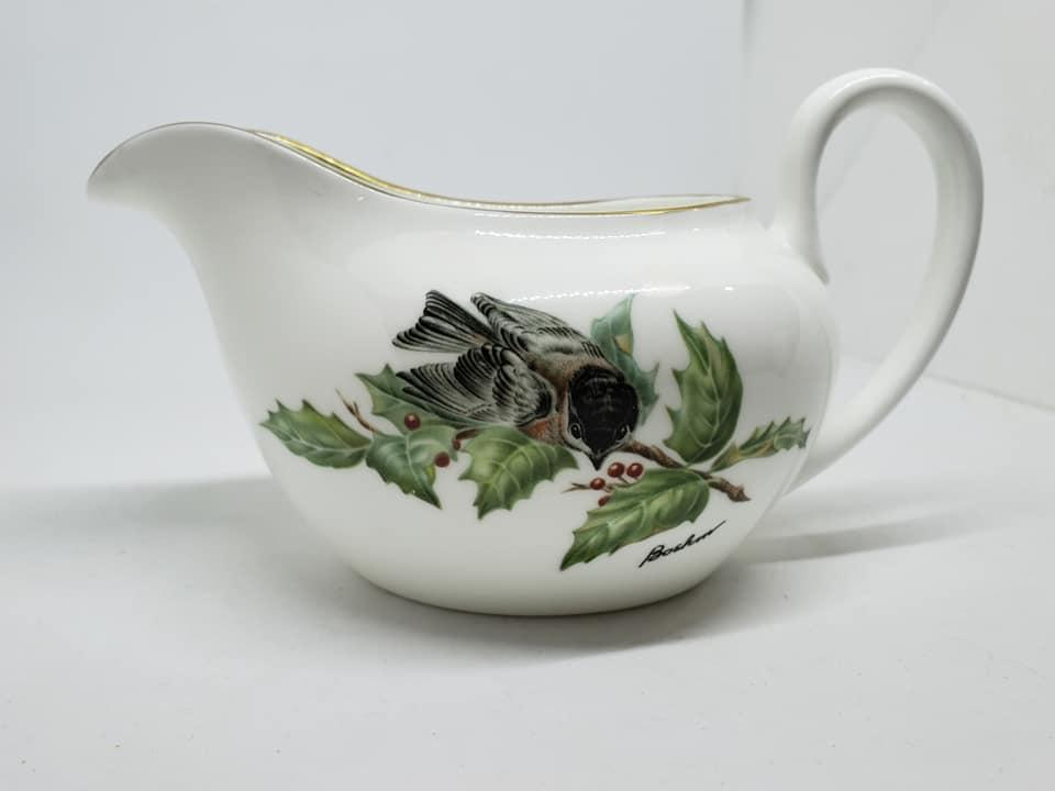 Boehm Chickadee & Holly Fine Bone Porcelain Covered Sugar and Creamer