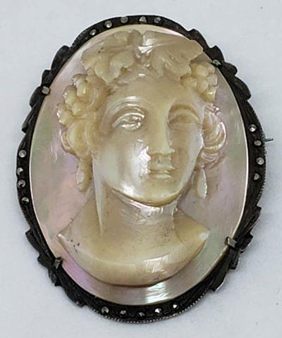 High Relief Carved Mother of Pearl Cameo Brooch/Pendant with 800 Silver Marcasite Frame