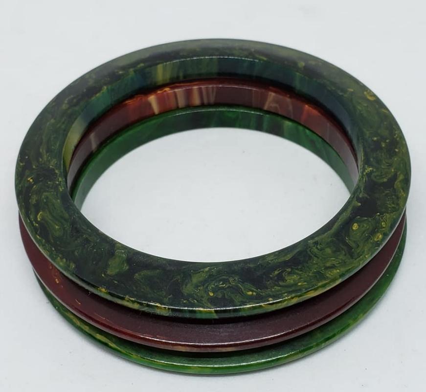 Set of 3 Vintage Green & Brown Marble Bakelite Bangle Bracelets