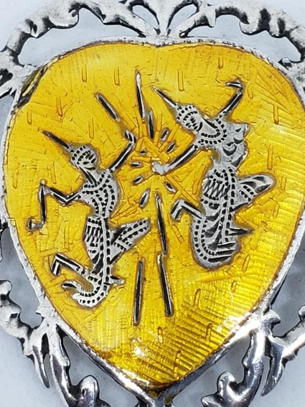 Sterling Silver Siam Niello Yellow Enamel Pin Brooch