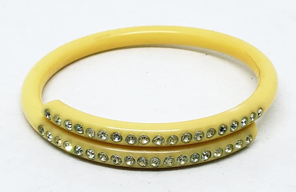Creamy Yellow Celluloid Wraparound Rhinestone Bangle Bracelet