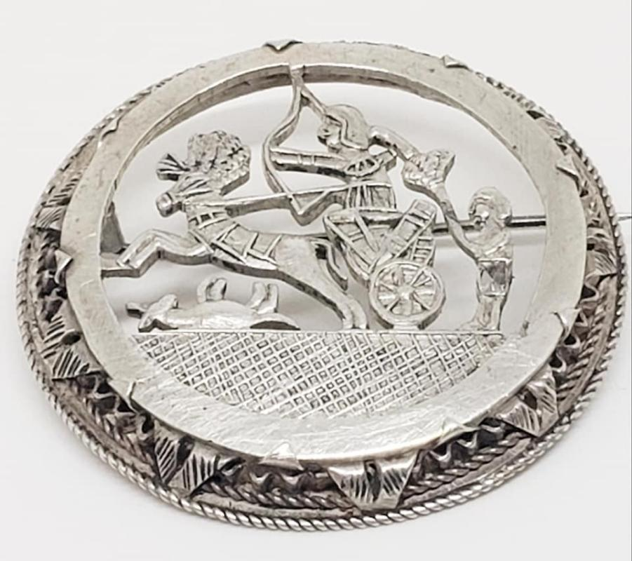 Round Silver Egyptian or Roman Chariot Hunting Scene Pin