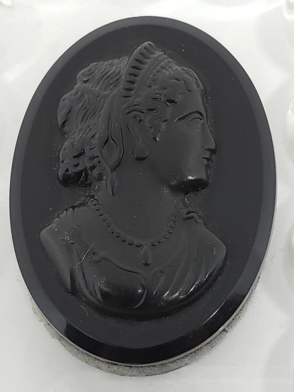 Book Piece 2 Sided Black on Clear Celluloid Mourning Cameo Pendant