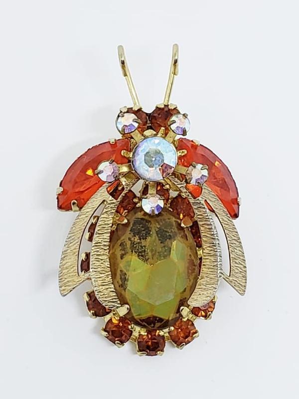 Vintage Orange Green Juliana D&E Bug Pin