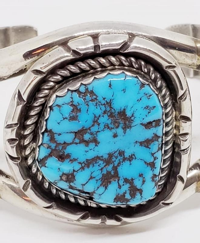 Sterling Silver & Turquoise Cuff Bracelet Signed