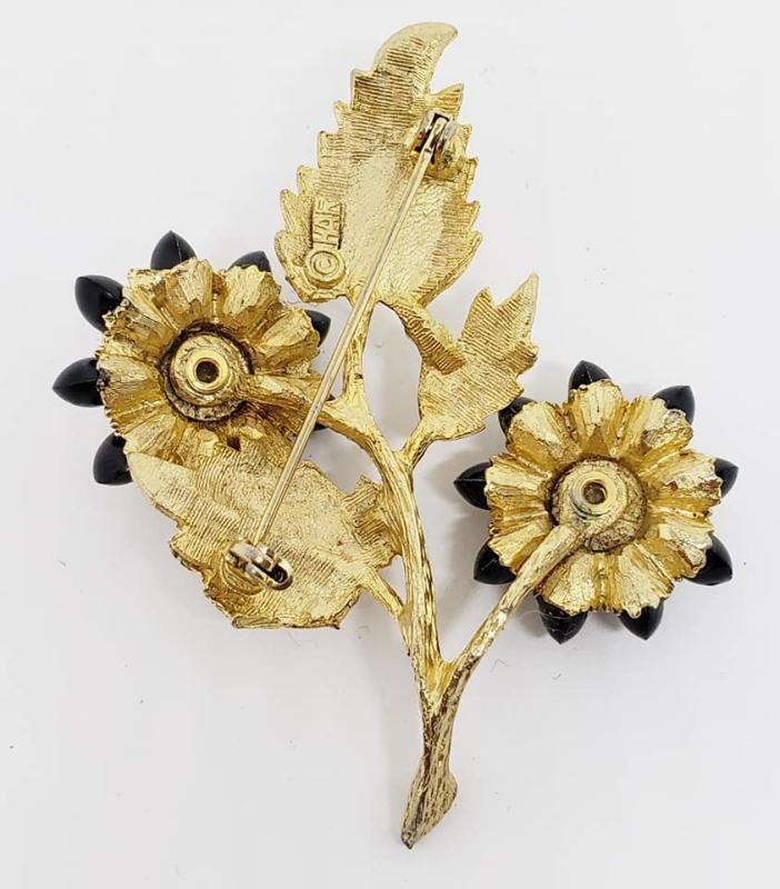 Vintage HAR Goldtone Black Rhinestone Flower Brooch