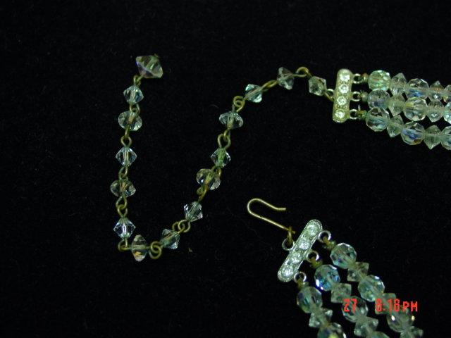 Vintage 3-Strand AB Crystal Bead Necklace