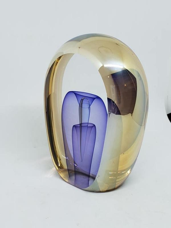 Cut Paneled Glass Paperweight by Ed Nesteruk