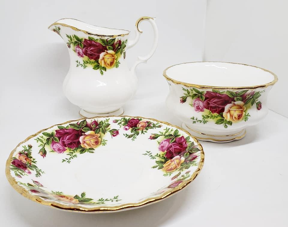 Royal Albert Creamer and Open Sugar Dish Old Country Roses Pattern