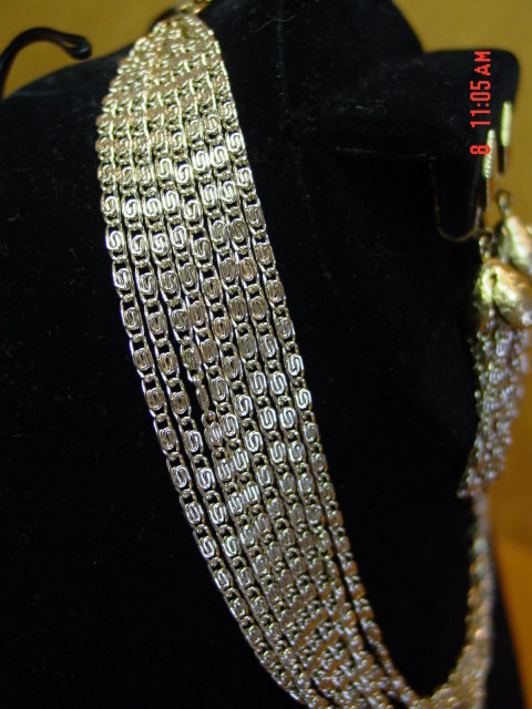 Sarah Coventry 8 Strand Chain Necklace & Clip Earrings