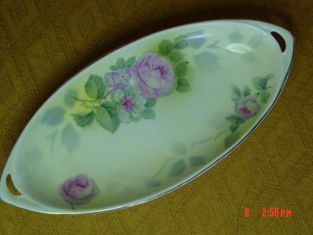 Royal Rudolstadt Germany Handled Floral Dish