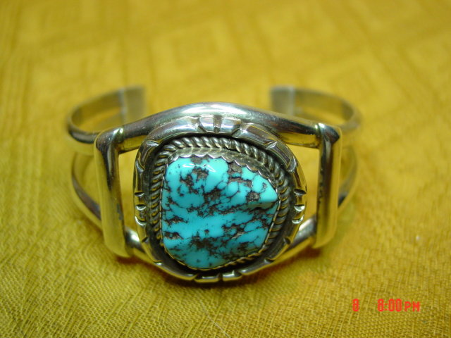 Signed Sterling Silver & Turquoise Cuff Bracelet