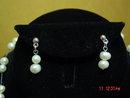 Modern Cultured Pearl Necklace & Pierced Earrings