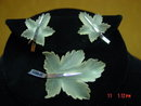 Frosted Cut Crystal & Sterling Maple Leaf Brooch & Screwback Earrings Set