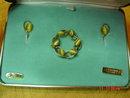 Van Dell 12K GF Tiger Eye Brooch & Screwback Earrings in Original Box