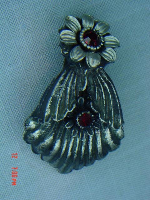 Celluloid Art Nouveau Black Flower Dress Clip