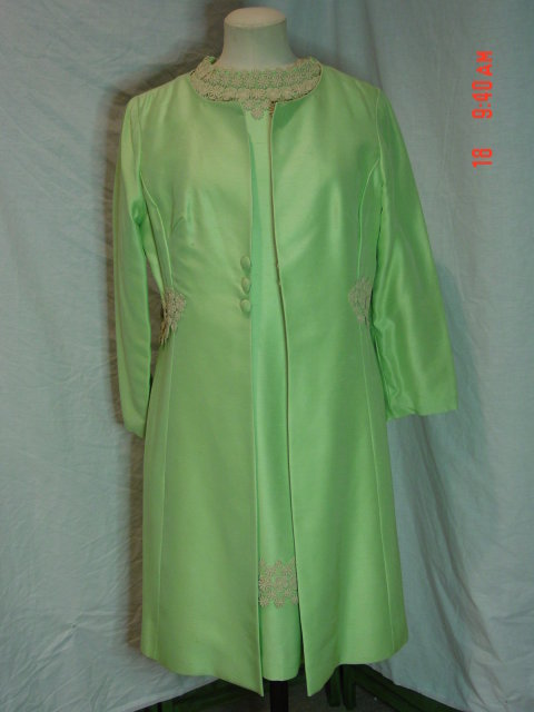 Vintage Sylvia Ann MOB Pistachio Green Silky Rayon Dress & Coat Set Size 14