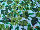 Vintage 54x70 Green Leafy Printed Cotton Tablecloth