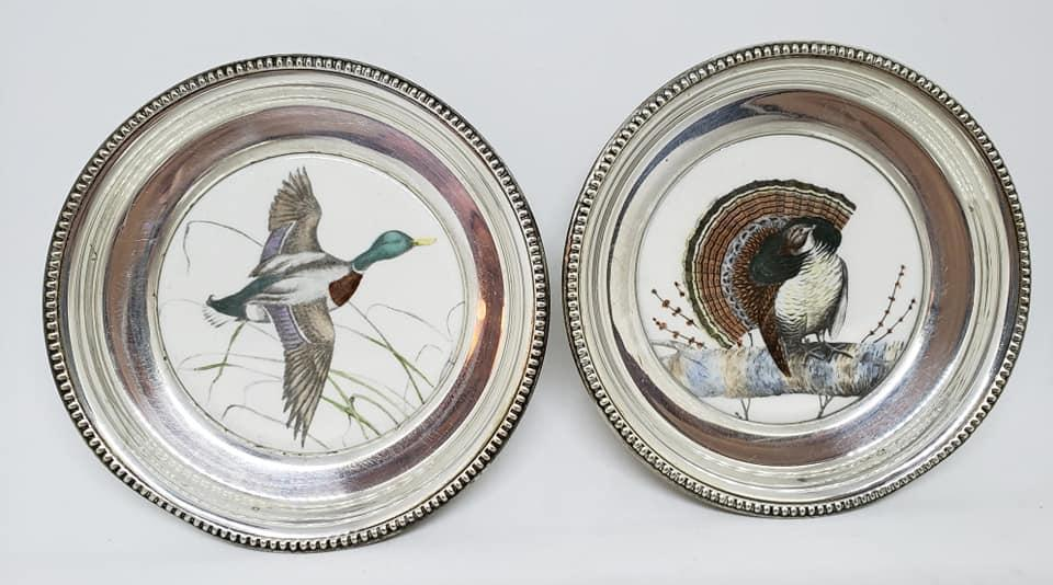 Set of 6 Frank M. Whiting Sterling and China Coasters with 6 Different Wild Birds