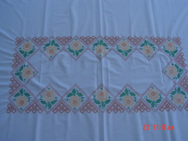 58x76 Cream Colored Cross Stitch Tablecloth