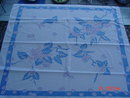Vintage Blue Pink & Cream Floral 44x48 Linen Tablecloth
