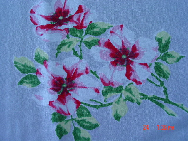 Vintage Red Pink & White Floral 58x51 Linen Tablecloth