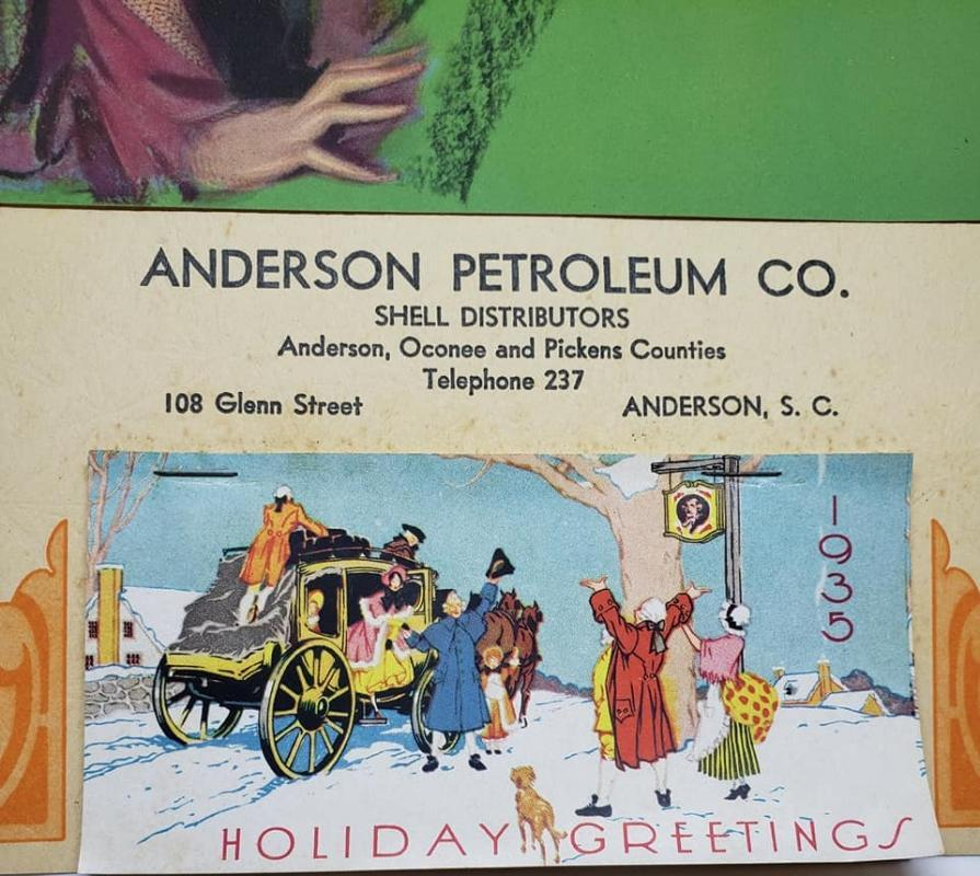 1935 Pinup Calendar Advertising Anderson Petroleum Co., Shell Distributors