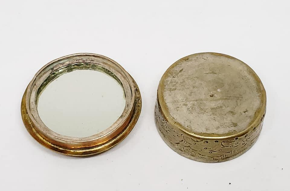 Vintage Persian Silver Hand Painted Mother of Pearl Inlay Small Hand Mirror & Mirror Pill Box