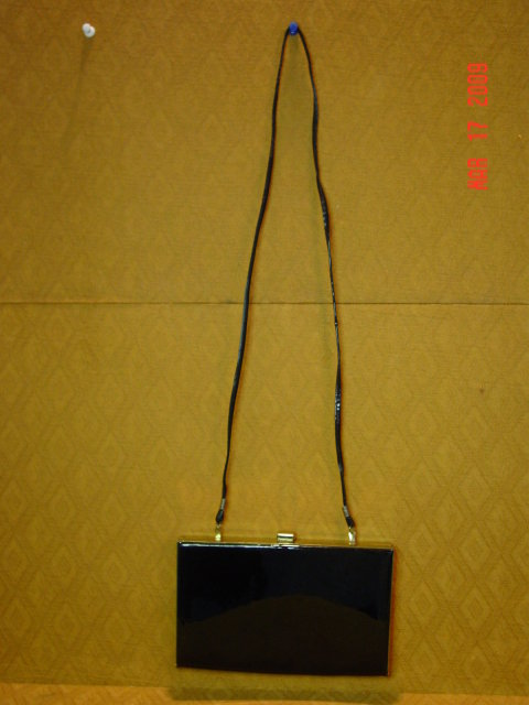 Vintage Shiny Black Vinyl Evening Bag Clutch