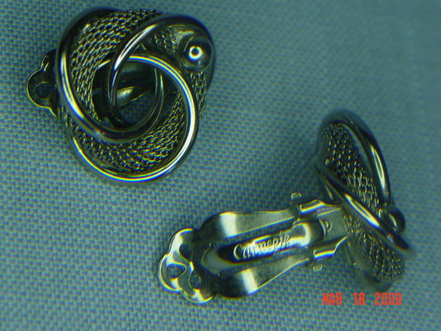 Carnegie Silvertone Clip Earrings
