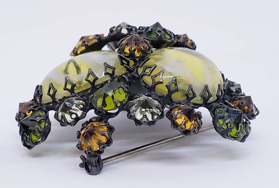 Signed SCHREINER Glass Olivine Topaz Domed Brooch & Clip Earrings