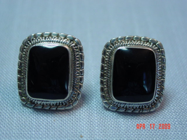 Taxco Sterling & Black Onyx Clip Earrings