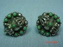 Mexico Silver & Jade Screwback Earrings