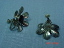 Mexico Sterling Black Onyx Flower Screwback Earrings