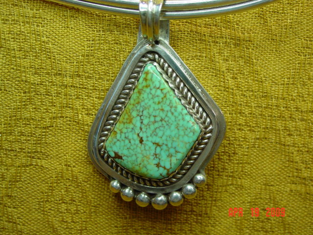 Signed Sterling Silver & Turquoise Pendant & Molded Choker Necklace