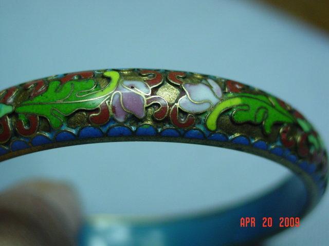 Vintage Chinese Cloisonne' on Brass Bangle Bracelet
