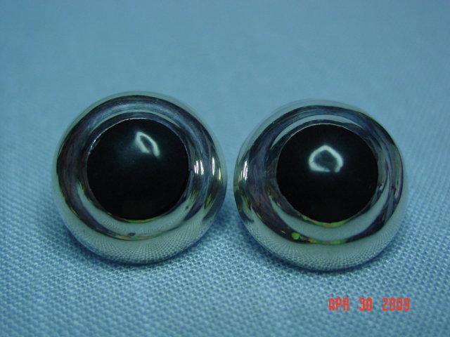 Taxco Mexico Sterling Black Onyx Pierced Earrings