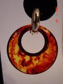 Vintage Yellow & Brown Swirl Bakelite Hoop Clip Earrings